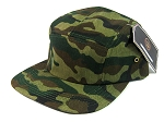 Junior Kids 5 Panel Camp Hats Wholesale - SOLID GREEN CAMOUFLAGE
