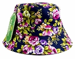 Wholesale Fashion Bucket Hats - Flowers Navy
