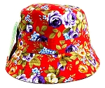 Wholesale Fashion Bucket Hats - Flowers Red