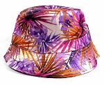 Wholesale Fashion Bucket Hats - Spiky Floral Purple