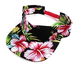 [Back Order Only] Flatbill Blank Snapback Visors Wholesale - Hawaiian Flowers Caps Black