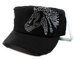 Bling Cowgirl HORSE Cadet Hats Wholesale - Black
