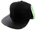 Alligator Blank Snapback Hats Caps Wholesale - Black | Black Under-Brim