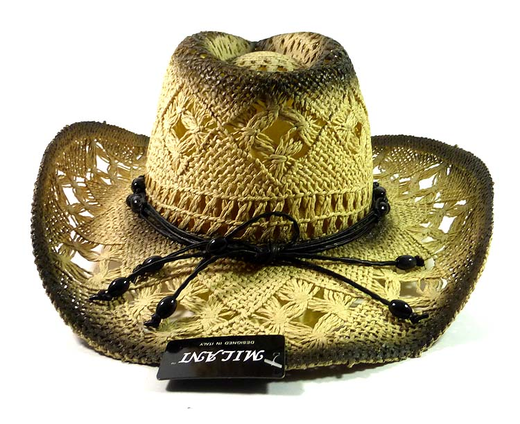 Western Cowboy Amp Cowgirl Straw Hats Wholesale Black Beads