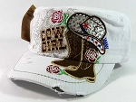 Western Rhinestone Cowgirl Boots Cadet Hats Wholesale - White