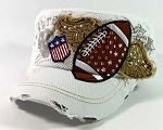 Bling Football Vintage Cadet Hats Wholesale - White