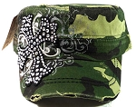 Bling Cross Vintage Cadet Caps Wholesale - Green Camo