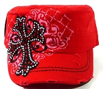 Bling Cross Vintage Cadet Caps Wholesale - Red