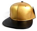 Faux Leather Blank Snapback Hats Wholesale - Gold | Black