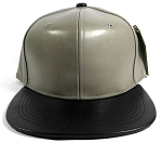 Faux Leather Blank Snapback Hats Wholesale - Gray | Black