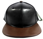 Faux Leather Blank Snapback Caps Wholesale - Black | Brown