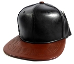 Faux Leather Blank Snapback Hats Wholesale - Black | Med Brown