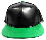 Faux Leather Blank Snapback Hats Wholesale - Black | Green