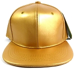 Blank Faux Leather Snapback Hats Wholesale - Gold