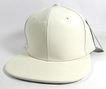 Blank Faux Leather Snapback Hats Wholesale - Satin White