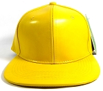 Plain Faux Leather Snapback Hats Wholesale - Yellow