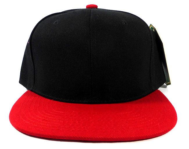 Wholesale Blank Snapback Hats Caps Black Red