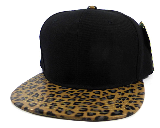 Wholesale Blank Lopard Snapback Hats Animal Print Caps Black