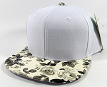 Wholesale Blank Floral Snapbacks Hats - White | Black Roses