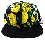 Wholesale Blank Floral Snapback Hats - Black | Yellow Flowers 2