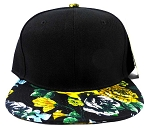 Wholesale Blank Floral Snapback Hats - Black | Yellow Flowers 3