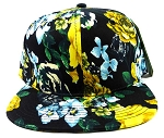 Wholesale Blank Floral Snapback Hats - Black | Yellow Flowers