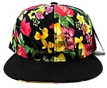 Wholesale Blank Floral Snapback Hats - Black | Roses & Leaves 3