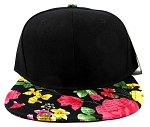 Wholesale Blank Floral Snapback Hats - Black | Roses & Leaves