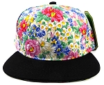 Wholesale Blank Floral Snapback Hats - Painted Flowers 3-kh