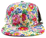 Wholesale Blank Floral Snapback Hats - Painted Flowers 2-kh