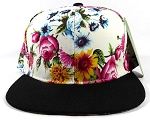 Wholesale Plain Floral Snapback Hats - Multicolored Daisy White