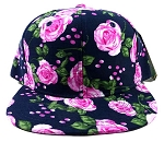 Wholesale Plain Floral Snapback Hats - Pink Roses & Leaves 2