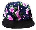 Wholesale Plain Floral Snapback Hats - Pink Roses & Leaves