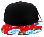 Wholesale Blank Floral Snapback Caps - Red Blue Roses 2