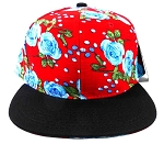 Wholesale Blank Floral Snapback Caps - Red Blue Roses