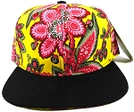 Wholesale Blank Floral Snapback Caps - Yellow Paisley 3