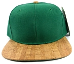 Wholesale Plain Cork Snapback Hats - Wood Brim Caps Green | Lines