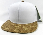 Wholesale Plain Cork Snapback Hats - Wood Brim Caps White | Floral