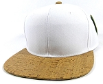Wholesale Plain Cork Snapback Hats - Wood Brim Caps White | Brown