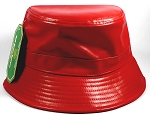 Wholesale Blank Faux Leather Bucket Hats Red