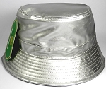 Wholesale Blank Faux Leather Bucket Hats - Shiny Silver