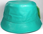 Wholesale Blank Faux Leather Bucket Hats Turquoise