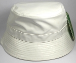 Wholesale Blank Faux Leather Bucket Hats White