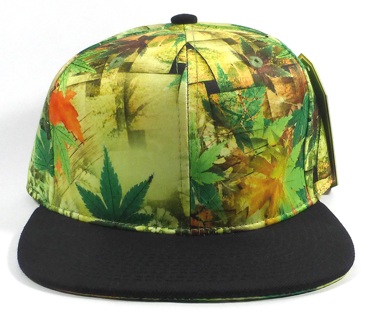 Wholesale Plain Caps Hats Green / Yellow Leaves - Black Brim