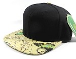 Wholesale Plain Floral Snapback Hats - Butterfly - Black | Beige