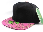 Wholesale Blank Floral Snapback Hat - Butterfly - Black | Hot Pink