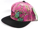 Wholesale Blank Flower Snapback - Butterfly - Hot Pink | Black