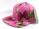 Wholesale Blank Flower Snapbacks Hats - Butterfly - Solid Hot Pink
