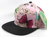 Wholesale Plain Floral Snapbacks Hat - Butterfly - Light Pink | Black