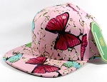 Wholesale Blank Floral Snapbacks Hats - Butterfly - Solid Light Pink